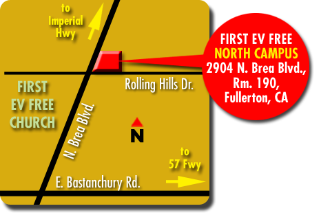 Christian Men's group Band of Brothers meeting Fullerton map